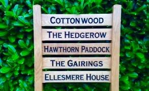 Ladder Sign - Multi-Rung - 720 x 110mm - Posts 70 x 70 x 1520mm - Bramble Signs Engraved Wall Mounted & Freestanding Oak House Signs, Plaques, Nameplates and Wooden Gifts