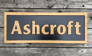 60cm x 22cm Large Reverse Engraved House Plaque Sign Made from Solid and Sustainable Prime Grade Oak FONT: CENTURY