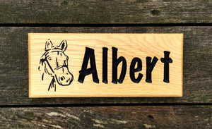 Horse Stable Sign With Horse Head Engraved onto Solid Oak Painted Black Text