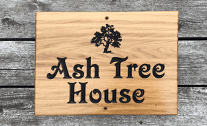 Ash Tree House 400x300 Sign with screw holes top and bottom FONT: VICTORIAN