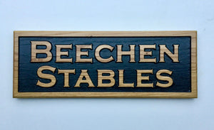 Beechen Stables reverse sign FONT: COPPERPLATE