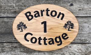 Extra Large Oval Personalised Wooden House Sign 430 x 330mm