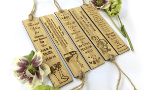 Four Uniquely Designed Wedding Thank You Bookmarks Made From Solid Bamboo