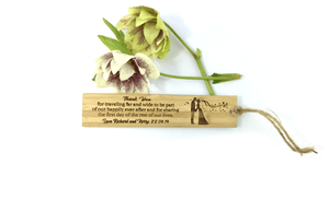 Bride & Groom Thank You For Attending My Wedding Personalised Bamboo Bookmark
