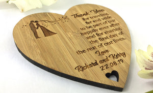 Couples Love heart Wedding Marriage Solid Bamboo Drinks Coasters
