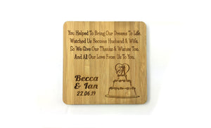 Cake Wedding Day Marriage Keepsake Made From Solid Bamboo