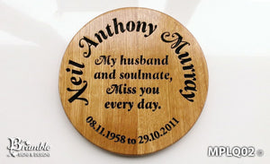 Memorial & Commemorative Plaques - Large Round - 300 x 300mm - Bramble Signs Engraved Wall Mounted & Freestanding Oak House Signs, Plaques, Nameplates and Wooden Gifts
