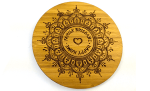Spiritual Bamboo Drinks Coasters With Heart