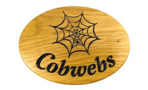 Cobwebs Solid Oak Oval House Sign