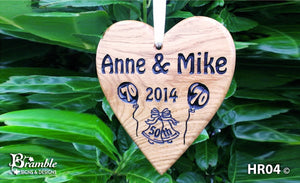 Memorial & Commemorative Plaques - Hanging Heart - 210 x 185mm - Bramble Signs Engraved Wall Mounted & Freestanding Oak House Signs, Plaques, Nameplates and Wooden Gifts