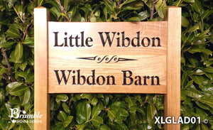 Ladder Sign - Extra Large - 720 x 400mm - Posts 70 x 70 x 1520mm - Bramble Signs Engraved Wall Mounted & Freestanding Oak House Signs, Plaques, Nameplates and Wooden Gifts