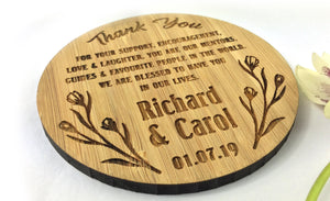 Flowers Marriage Wedding Solid Bamboo Drinks Coaster