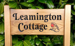 Oak Freestanding & Ladder Signs - Red Robin Cottage House Sign, Garden Sign - Bramble Signs