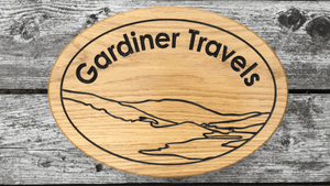 Gardiner Travels solid oak wooden house sign with landscape design