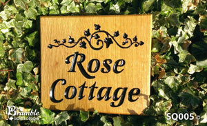 Square House Plaque engraved with rose cottage and leaf scroll FONT: LATIENNE ITALIC
