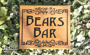 Square House Name Plate bears bar with scroll FONT: DESDEMONA BLACK