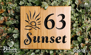 Square House Sign 63 sunset with a sunset picture FONT: GOUDY ITALIC