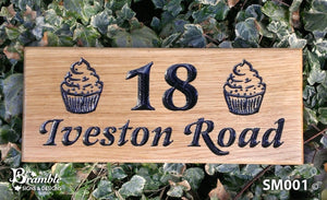 Small House Sign engraved with 18 iveston road and cupcake images FONT: LATIENNE ITALIC