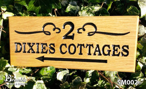 Small House Name Plate 2 dixies cottages with an arrow and scroll FONT: BOOKMAN