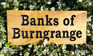 Small House Sign engraved with banks of burngrange FONT: BOOKMAN