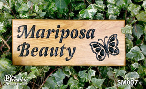 Small House Sign engraved with mariposa beauty and butterfly picture FONT: VICTORIAN