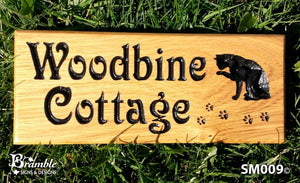 Small House Sign saying woodbine cottage with a cat image FONT: VICTORIAN