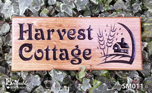 Small House Sign saying harvest cottage with a corn picture FONT: VICTORIAN