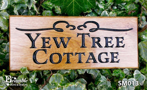 Small House Name Plate saying yew tree cottage with scroll image FONT: LATIENNE