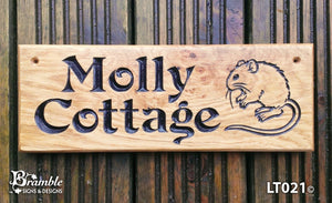House Sign - Long Thin - 380 x 110mm - Bramble Signs Engraved Wall Mounted & Freestanding Oak House Signs, Plaques, Nameplates and Wooden Gifts FONT: VICTORIAN