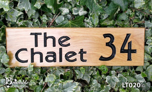 House Sign - Long Thin - 380 x 110mm - Bramble Signs Engraved Wall Mounted & Freestanding Oak House Signs, Plaques, Nameplates and Wooden Gifts FONT: DESMONA BLACK