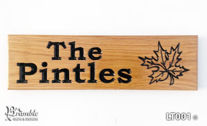 House Sign - Long Thin - 380 x 110mm - Bramble Signs Engraved Wall Mounted & Freestanding Oak House Signs, Plaques, Nameplates and Wooden Gifts FONT: BOOKMAN