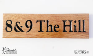 House Sign - Long Thin - 380 x 110mm - Bramble Signs Engraved Wall Mounted & Freestanding Oak House Signs, Plaques, Nameplates and Wooden Gifts FONT: GOUDYOLD