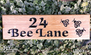 House Sign - Long Thin - 380 x 110mm - Bramble Signs Engraved Wall Mounted & Freestanding Oak House Signs, Plaques, Nameplates and Wooden Gifts FONT: LATIENNE ITALIC