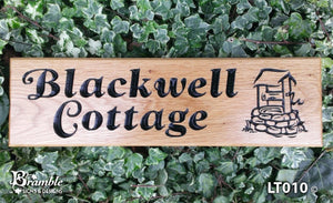 House Sign - Long Thin - 380 x 110mm - Bramble Signs Engraved Wall Mounted & Freestanding Oak House Signs, Plaques, Nameplates and Wooden Gifts FONT: GOUDY ITALIC