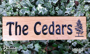 House Sign - Long Thin - 380 x 110mm - Bramble Signs Engraved Wall Mounted & Freestanding Oak House Signs, Plaques, Nameplates and Wooden Gifts FONT: HOBO