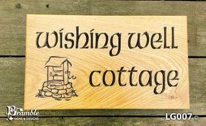 House Sign - Large - 380 x 220mm - Bramble Signs Engraved Wall Mounted & Freestanding Oak House Signs, Plaques, Nameplates and Wooden Gifts FONT: