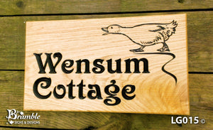 House Sign - Large - 380 x 220mm - Bramble Signs Engraved Wall Mounted & Freestanding Oak House Signs, Plaques, Nameplates and Wooden Gifts FONT: VITCTORIAN
