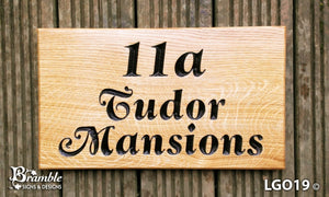 House Sign - Large - 380 x 220mm - Bramble Signs Engraved Wall Mounted & Freestanding Oak House Signs, Plaques, Nameplates and Wooden Gifts FONT: LATIENNE