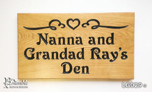 House Sign - Large - 380 x 220mm - Bramble Signs Engraved Wall Mounted & Freestanding Oak House Signs, Plaques, Nameplates and Wooden Gifts FONT: VICTORIAN