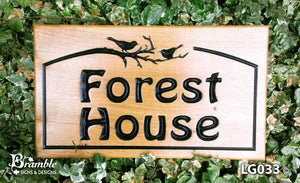 House Sign - Large - 380 x 220mm - Bramble Signs Engraved Wall Mounted & Freestanding Oak House Signs, Plaques, Nameplates and Wooden Gifts FONT: HOBO