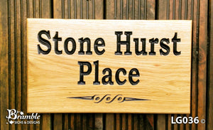 House Sign - Large - 380 x 220mm - Bramble Signs Engraved Wall Mounted & Freestanding Oak House Signs, Plaques, Nameplates and Wooden Gifts FONT: BOOKMAN