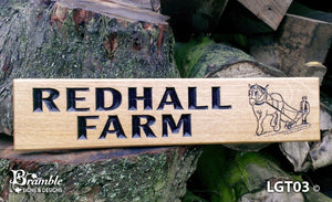 House Sign - Longer Thin - 500 x 110mm - Bramble Signs Engraved Wall Mounted & Freestanding Oak House Signs, Plaques, Nameplates and Wooden Gifts FONT: ARIAL