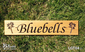 House Sign - Longer Thin - 500 x 110mm - Bramble Signs Engraved Wall Mounted & Freestanding Oak House Signs, Plaques, Nameplates and Wooden Gifts FONT: LATIENNE