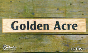 House Sign - Longer Thin - 500 x 110mm - Bramble Signs Engraved Wall Mounted & Freestanding Oak House Signs, Plaques, Nameplates and Wooden Gifts FONT: CLEARFACEGOT