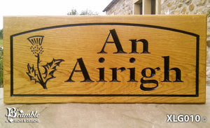 House Sign - Extra Large - 500 x 220mm - Bramble Signs Engraved Wall Mounted & Freestanding Oak House Signs, Plaques, Nameplates and Wooden Gifts FONT: COCHIN BOLD