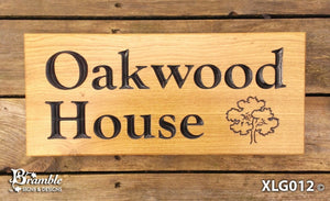 House Sign - Extra Large - 500 x 220mm - Bramble Signs Engraved Wall Mounted & Freestanding Oak House Signs, Plaques, Nameplates and Wooden Gifts FONT: GOUDYOLD