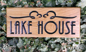 House Sign - Extra Large - 500 x 220mm - Bramble Signs Engraved Wall Mounted & Freestanding Oak House Signs, Plaques, Nameplates and Wooden Gifts FONT: DES<PMA B:ACL