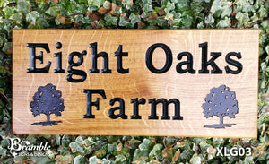 House Sign - Extra Large - 500 x 220mm - Bramble Signs Engraved Wall Mounted & Freestanding Oak House Signs, Plaques, Nameplates and Wooden Gifts FONT: BOOKMAN