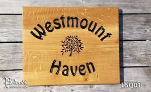 House Sign - Extra Large Square - 500 x 400mm - Bramble Signs Engraved Wall Mounted & Freestanding Oak House Signs, Plaques, Nameplates and Wooden Gifts FONT: HOBO