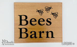 House Sign - Extra Large Square - 500 x 400mm - Bramble Signs Engraved Wall Mounted & Freestanding Oak House Signs, Plaques, Nameplates and Wooden Gifts FONT: COCHIN BOLD